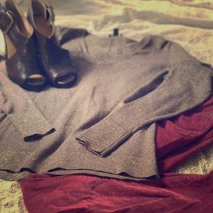 ANN TAYLOR Brown/Gold Fitted Sweater